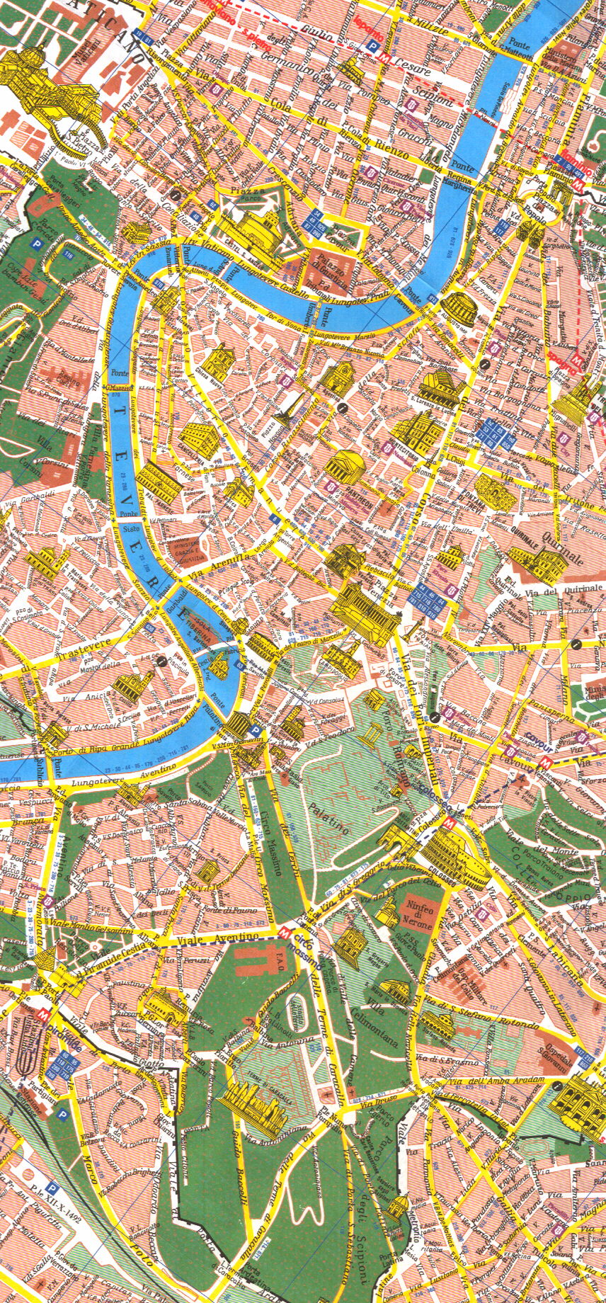 map of Rome: downtown and historical center Map Of Downtown Rome on